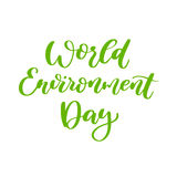 World environment day vector hand lettering. Holiday typography. Great for banner, poster, card Royalty Free Stock Photos