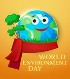 World Environment Day vector illustration. World Environment Day with smiling planet Earth, Green Planet concept design, vector illustration vector illustration