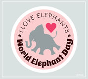 World environment day and world elephant day. Vector stickers, emblems, logo. Little elephant silhouette. Stock Photos