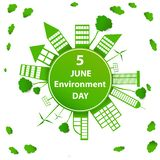 World environment day. Building paper art  surround earth concept sustainable development and nature conservation design for banner, greeting card, t-shirt royalty free illustration