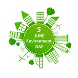World environment day. Building paper art  surround earth concept sustainable development and nature conservation design for banner, greeting card, t-shirt stock illustration