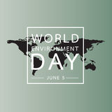 World environment day with world map background. Vector illustration Stock Photos