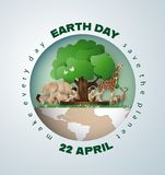 Earth day concept with tree,animals and people. World environment and earth day concept, paper cut 3d stock illustration