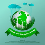 World environment. Green eco. Vector composition of grass on a light background. World environment day. Illustration Stock Photo