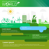 World Environmental Protection Green Energy Ecology Infographics Banner With Copy Space Stock Image