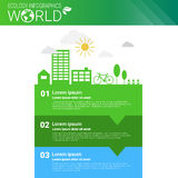 World Environmental Protection Green Energy Ecology Infographics Banner With Copy Space. Vector Illustration Stock Images