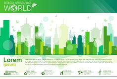 World Environmental Protection Green Energy Ecology Infographics Banner With Copy Space. Vector Illustration royalty free illustration
