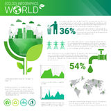 World Environmental Protection Green Energy Ecology Infographics Banner With Copy Space Royalty Free Stock Photos