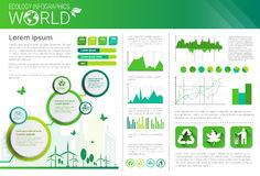 World Environmental Protection Green Energy Ecology Infographics Banner With Copy Space Royalty Free Stock Images
