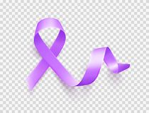 World Epilepsy day. March 26. Realistic purple ribbon symbol. Template for poster with handdrawn lettering. Vector. World Epilepsy day. March 26. Realistic royalty free illustration