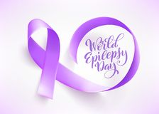 World Epilepsy day. March 26. Realistic purple ribbon symbol. Template for poster with handdrawn lettering. Vector. World Epilepsy day. March 26. Realistic stock illustration