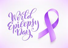 World Epilepsy day. March 26. Realistic purple ribbon symbol. Template for poster with handdrawn lettering. Vector. World Epilepsy day. March 26. Realistic vector illustration