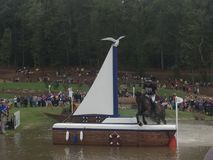 2018 world Equestrian games - eventing cross country day water complex New Zealand rider stock photos