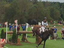 2018 world Equestrian games - eventing cross country day water complex New Zealand rider royalty free stock photos