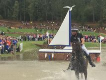 2018 world Equestrian games - eventing cross country day water complex New Zealand rider stock images