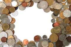 World and european coins as frame Royalty Free Stock Photo