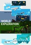 World exploration banner background badge  Stock Photo