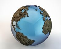 World with extruded continents. On white background Stock Image