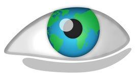 World eye. Big eye and globe. Illustration, shadows Stock Images