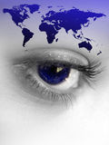 World Eye. Montage of a pretty color isolated eye with the world continents Royalty Free Stock Images