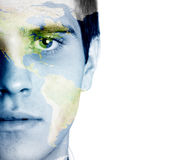 World face. Young man with the world painted on the face Stock Image