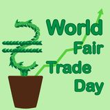 World Fair Trade Day. The money tree grows in a flowerpot. May. Illustration royalty free illustration