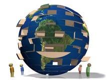 World Falling Apart. Jenga styled globe. World in crisis. Falling apart Stock Illustration