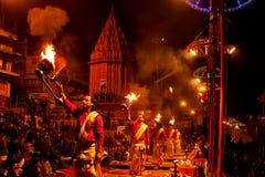 World famous Arti in Varanasi, India Stock Photo