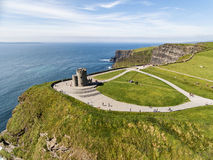 World famous birds eye aerial drone view of the Cliffs of Moher in County Clare, Ireland. Beautiful Irish Countryside Landscape on the Wild Atlantic Way route Stock Photo