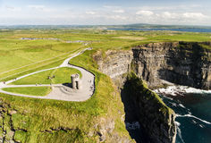 World famous birds eye aerial drone view of the Cliffs of Moher in County Clare, Ireland. Stock Photo