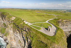 World famous birds eye aerial drone view of the Cliffs of Moher in County Clare, Ireland. Beautiful Irish Countryside Landscape on the Wild Atlantic Way route Stock Images