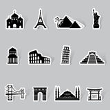 World famous buildings abstract silhouettes Stock Images
