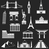 World famous buildings abstract silhouettes Stock Photos
