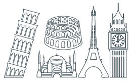 World famous buildings icons Stock Image