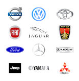 World famous car brands. Collection of the famous car brands logos Royalty Free Stock Photography