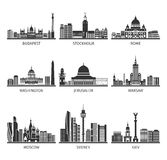 World Famous Cityscapes Black Icons Set Royalty Free Stock Photos