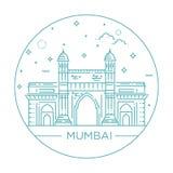 Gate way of India Mumbai Illustration. World famous Gate to India. Greatest Landmarks of Asia. Linear modern style vector icon symbol of India, Mumbai Stock Image