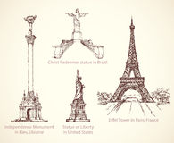 World famous historical monuments. Vector sketch Royalty Free Stock Image