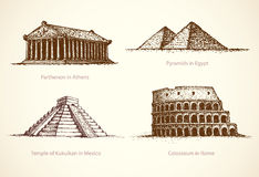 World famous historical monuments. Vector sketch Stock Image