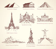 World famous historical monuments. Vector sketch vector illustration