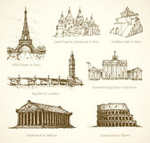 World famous historical monuments. Vector sketch Stock Photos