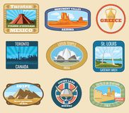 World famous international landmarks vector vintage travel stickers Royalty Free Stock Photography