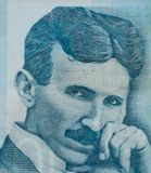 World famous inventor Nikola Tesla portrait close up on Serbian banknote stock photos