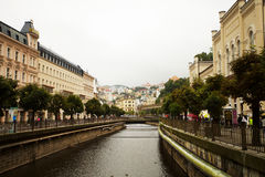 World-famous for its mineral springs, the town of Karlovy Vary (Karlsbad) Stock Photos
