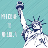 World Famous Landmark Of America. Statue of Liberty. Welcome To America. Vector Illustration Stock Photography