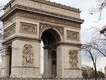 World famous landmark Arc de Triomphe in Paris France during sunrise no people in picture. During spring Stock Image