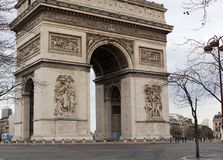 World famous landmark Arc de Triomphe in Paris France during sunrise no people in picture. During spring Royalty Free Stock Photography