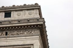 World famous landmark Arc de Triomphe in Paris France during sunrise no people in picture. During spring Royalty Free Stock Image