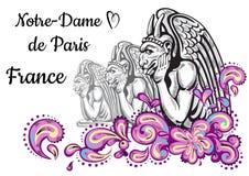 World famous landmark collection. France, Paris. Notre-Dame de Paris. Gargoyles. Beautiful vector artwork colorful decorated. Perfect template for your design Stock Photography