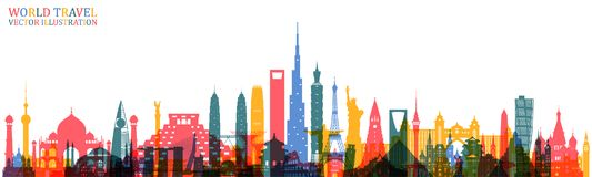 World Famous Landmark Colorful Art. Global Travel And Journey In Royalty Free Stock Photography